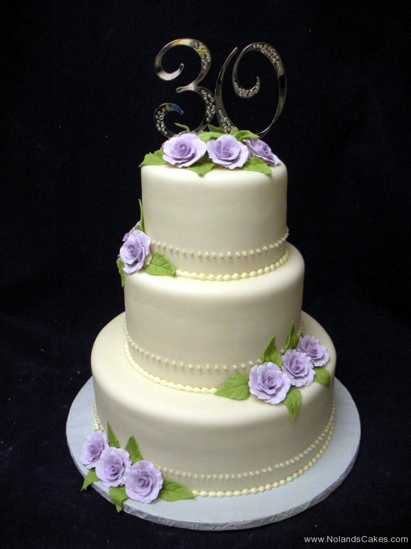 2434, three tier, tiered, white, flowers, purple flowers, roses, simple,