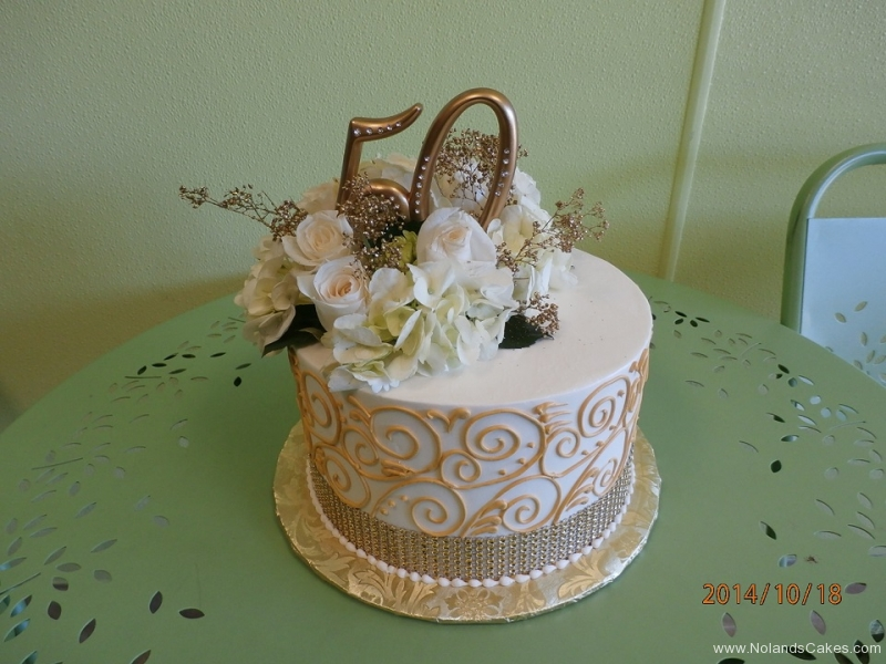 2468, 50th, fiftieth, gold, white, roses, flowers, flowers on top, piping, swirls, sequins, silver
