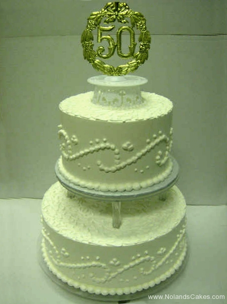 2505, tiered, layered, two tiered, columns, white, 50, fiftieth, gold