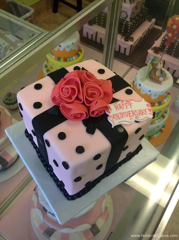 2488, pink, black, polka dots, present, square, flowers, gift