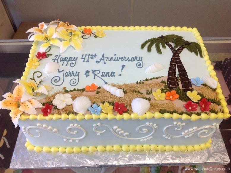 2508, hawaiian, tropical, hawaii, beach, flowers, palm trees, sand, ocean, 40th, fortieth, blue, yellow, fun, cute, colorful