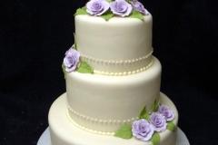 2434, three tier, tiered, white, flowers, purple flowers, roses, simple,