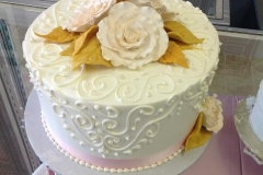 2494, white, gold, flowers, piping, 50th, fifty, roses