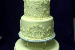 2512, tiered, layered, three tiered, white, 25, 25th, silver, intricate, simple, elegant