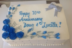 2106, anniversary, 70th, 70, blue, white, roses, rose, flower, flowers, bow, bows, silver