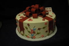 2539, present, red, ribbon, flowers, cream, white, blue, pink, green, 35th, 35th birthday, thirty fifth
