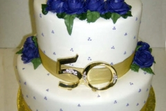 2553, tiered, two tier, roses, blue, purple, swans, topper, 50th, fiftieth, gold, dots, silver, white, birds