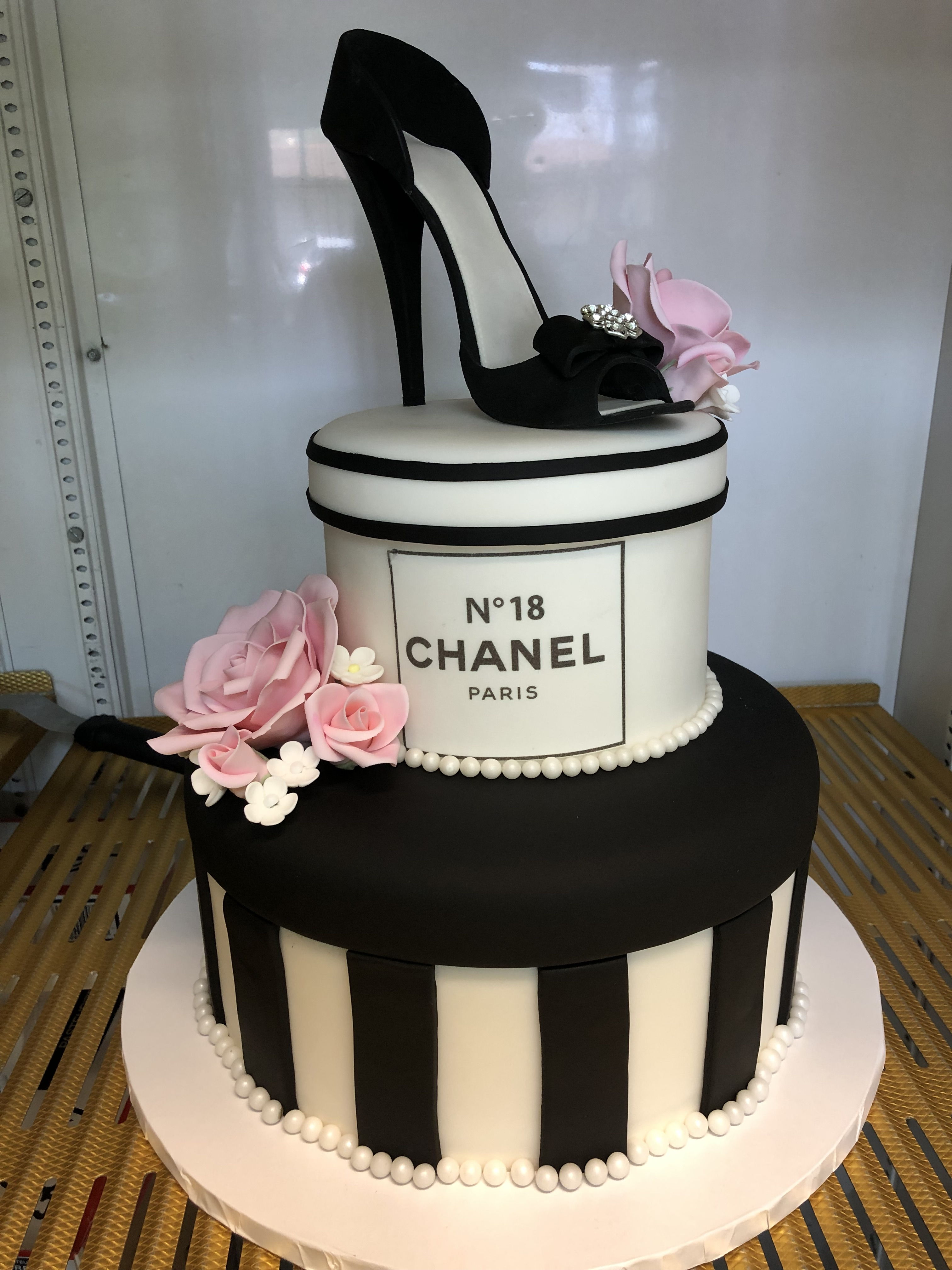 3106, 18th birthday, eighteenth birthday, chanel, shoe, box, hat box, jewelry, black, white, pink, flower, flowers, stripe, stripes