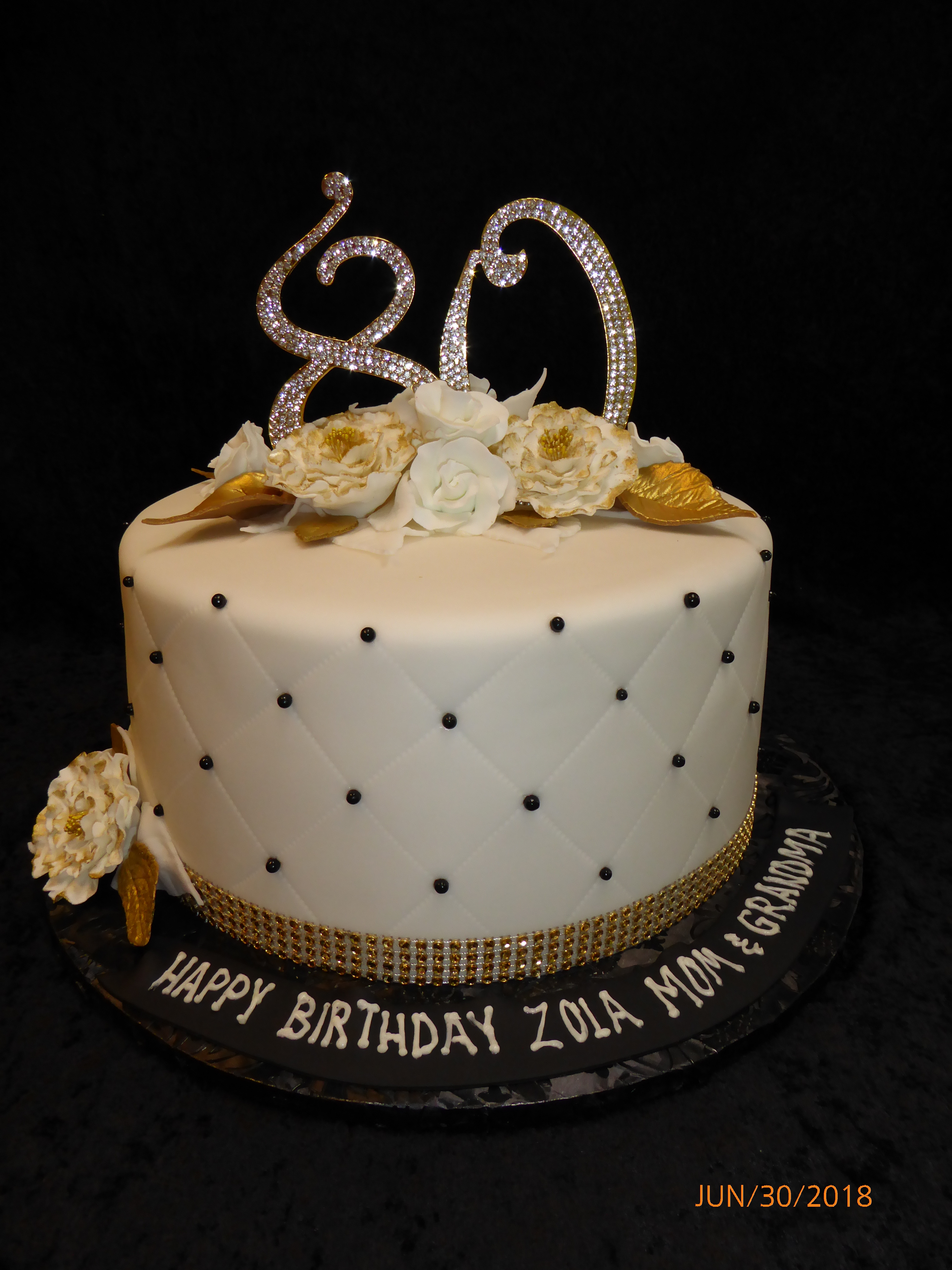 3249, 80th birthday, eightieth birthday, flower, flowers, silver, gold, white, black