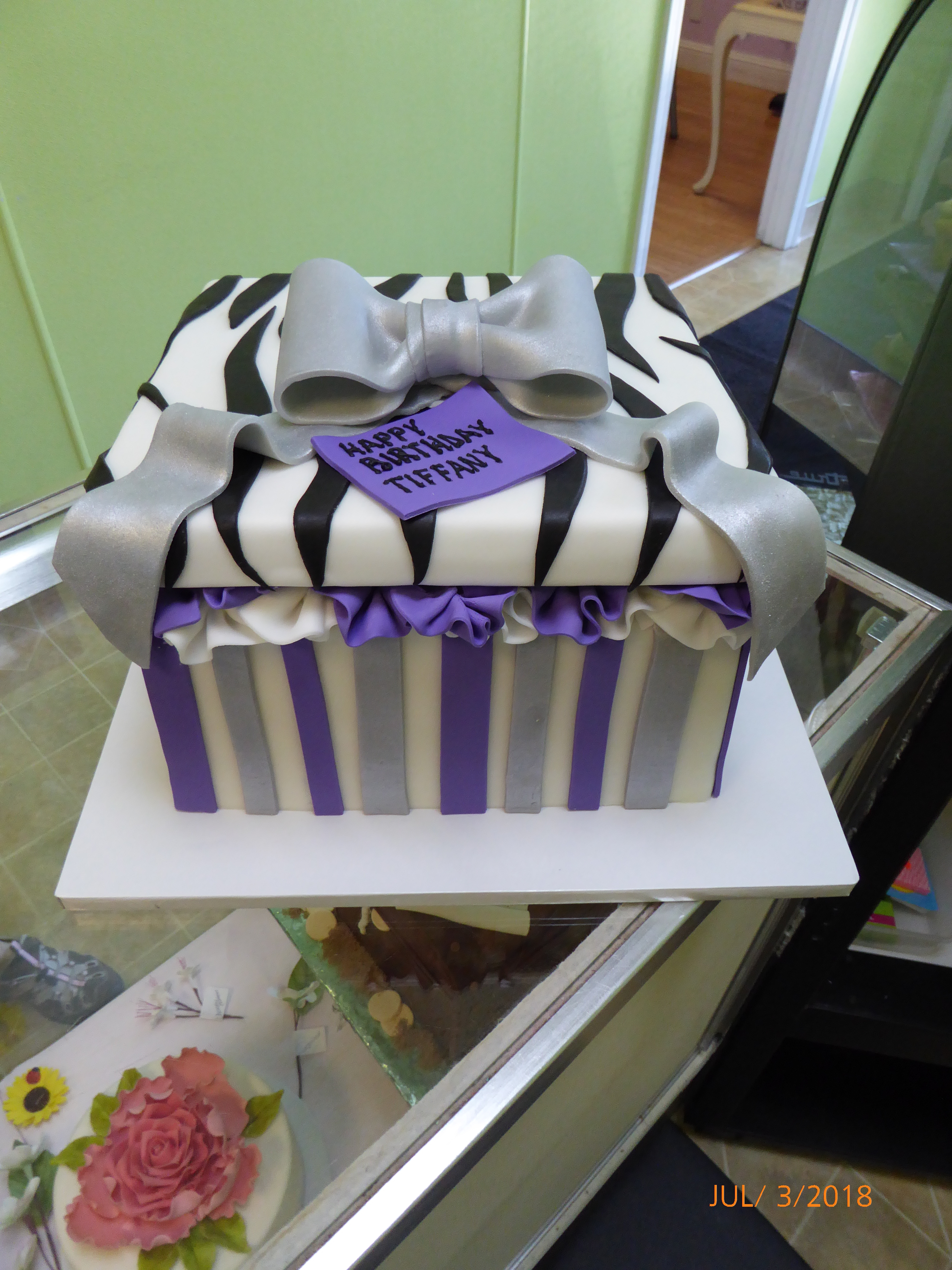 3250, birthday, box, present, purple, gray, silver, black, white, stripe, zebra print, bow, bows, ruffle, ruffles