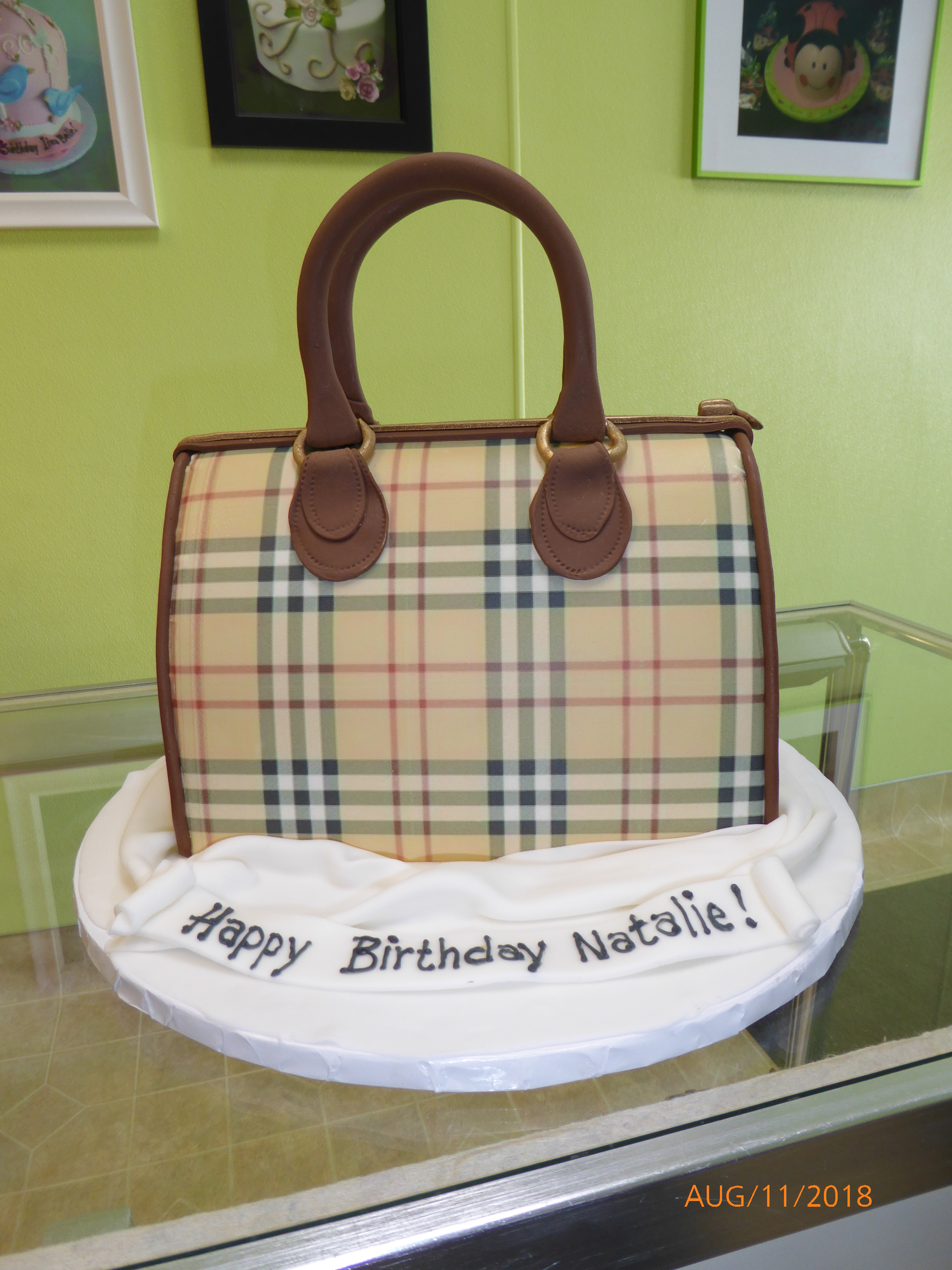 3251, birthday, purse, bag, tartan, plaid, checkerboard, brown, tan, gray, grey, black, coach, carved