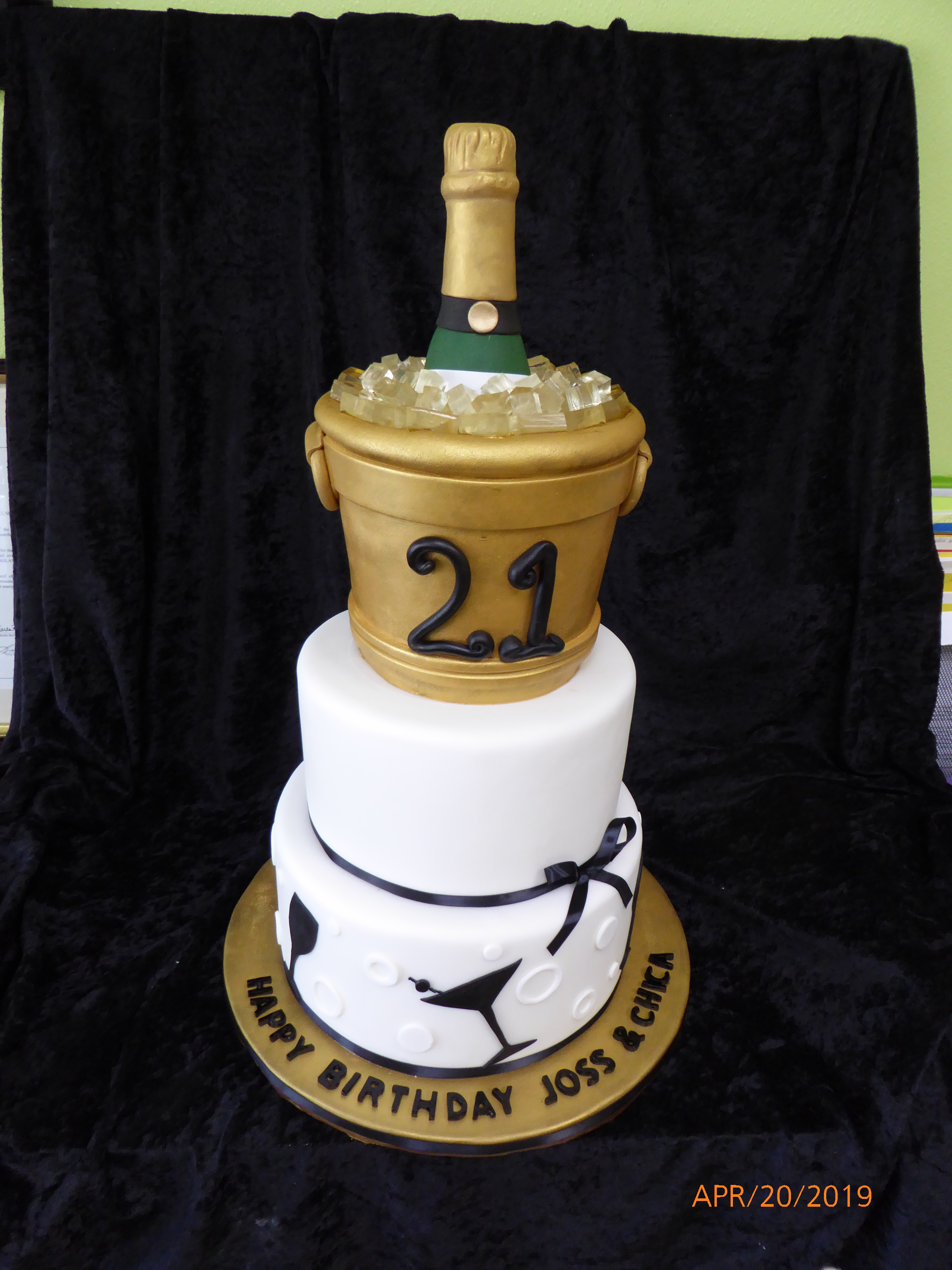 3321, 21st birthday, twenty first birthday, ice bucket, wine, champagne, black, white, gold, martini, tiered