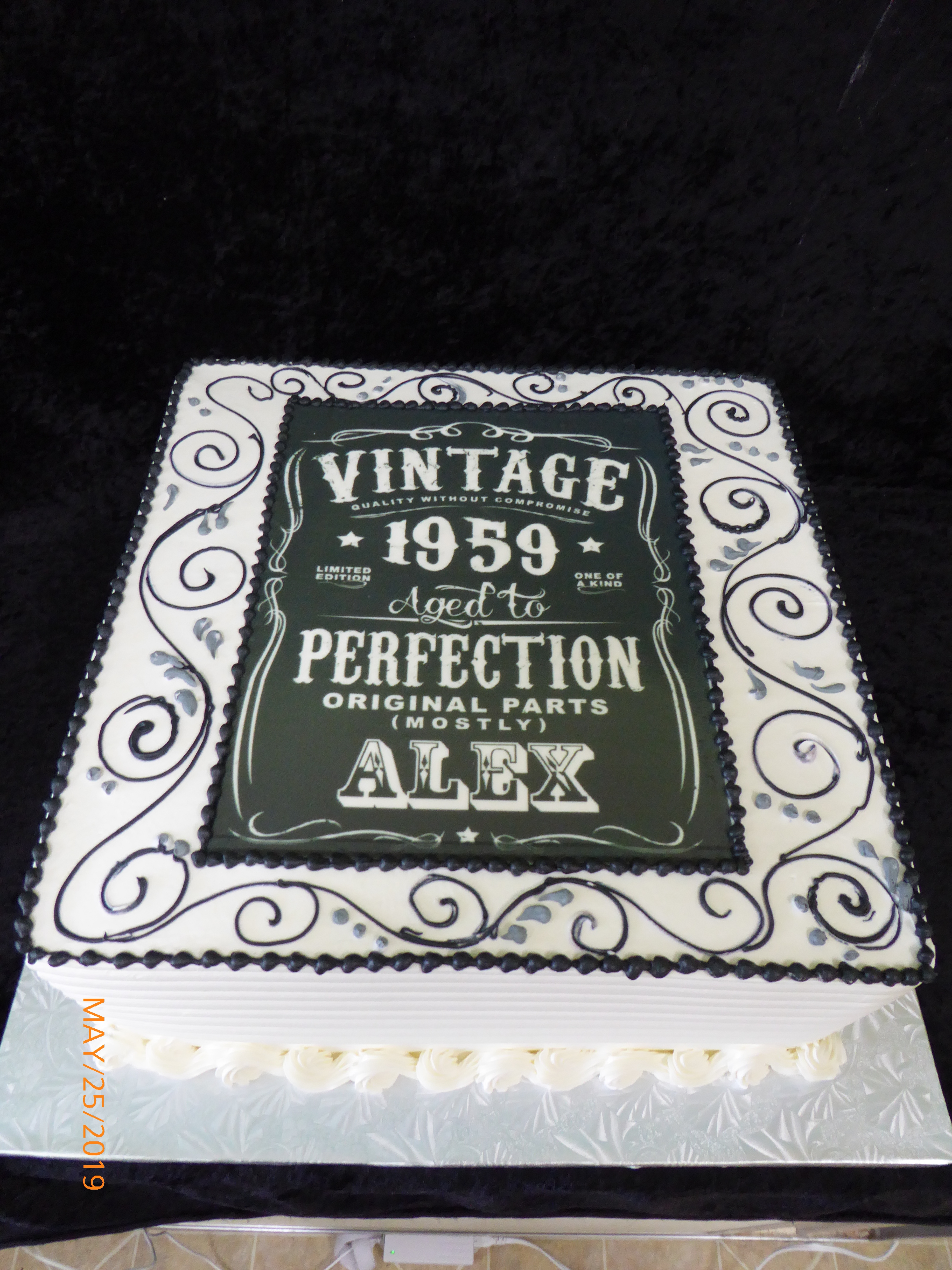 3396, 60th birthday, sixtieth birthday, vintage, aged to perfection, black, white, swirl, swirls, jack daniels