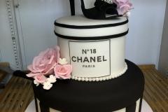 3106, 18th birthday, eighteenth birthday, chanel, shoe, box, hat box, jewelry, black, white, pink, flower, flowers, stripe, stripes