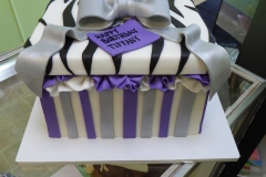 3250, birthday, box, present, purple, gray, silver, black, white, stripe, zebra print, bow, bows, ruffle, ruffles