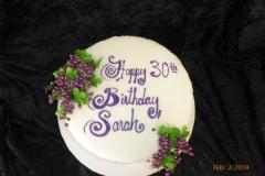3108, 30th birthday, thirtieth birthday, grapes, grape, scrollwork, scroll, scrolling, white, purple