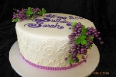 3109, 30th birthday, thirtieth birthday, grapes, grape, scrollwork, scroll, scrolling, white, purple