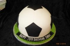 3110, 70th birthday, seventieth birthday, soccer ball, futbal, black, white, green, carved, grass