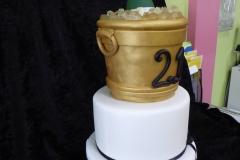 3320, 21st birthday, twenty first birthday, ice bucket, wine, champagne, black, white, gold, martini, tiered