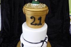 3321, 21st birthday, twenty first birthday, ice bucket, wine, champagne, black, white, gold, martini, tiered