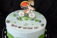 3332, 80th birthday, eightieth birthday, bike, bicycle, road race, road, sky, hills, green, blue, edible image