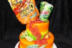 3358, birthday, cheetos, mountain dew, chips, soda, orange, green, spicy, green, tiered