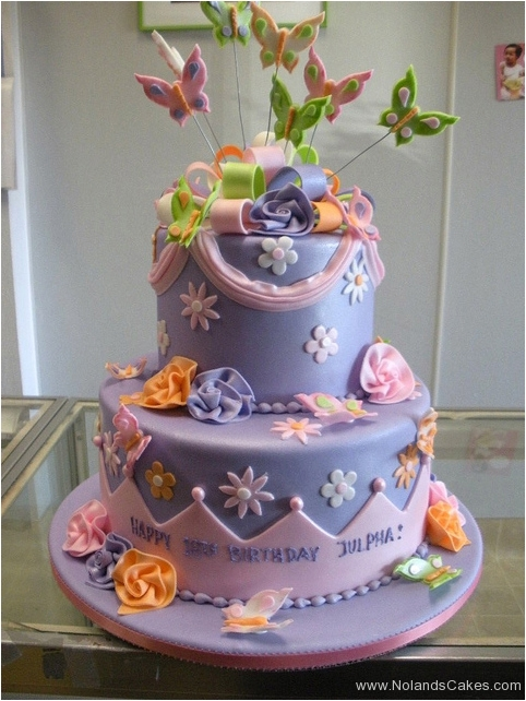 249, eighteenth birthday, 18th birthday, tiered, two tiered, purple, orange, flowers, butterflies, butterfly, topper, yellow, green