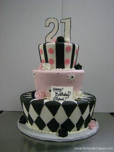 252, twenty-first birthday, 21st birthday, black, white, pink, tiered, three tier, stripes, 21, topper, dots, diamonds, zig zags, flowers, daisies, roses,