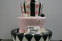 252, twenty-first birthday, 21st birthday, black, white, pink, tiered, three tier, stripes, 21, topper, dots, diamonds, zig zags, flowers, daisies, roses,