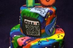 268, 16th birthday, sixteenth birthday, music, brights, guitar, speaker, rainbow, tyedye. tiered