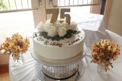 270, 75th birthday, seventy fifth birthday, flower, flowers, white, gold