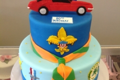 27980th birthday, eightieth birthday, boy scouts, boy scout, car, oakland a's, athletics, blue, red, yellow, tiered
