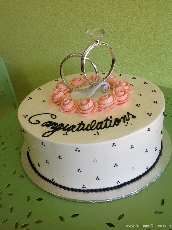 349, engagement, white, black, swiss dots, pink, pink roses, roses, silver, rings, topper