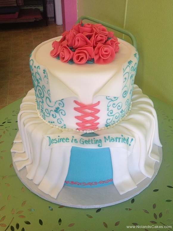 353, tiered, two tiered, pink, blue, dress, drapes, draped, corset, roses, pink roses, flowers, swirls