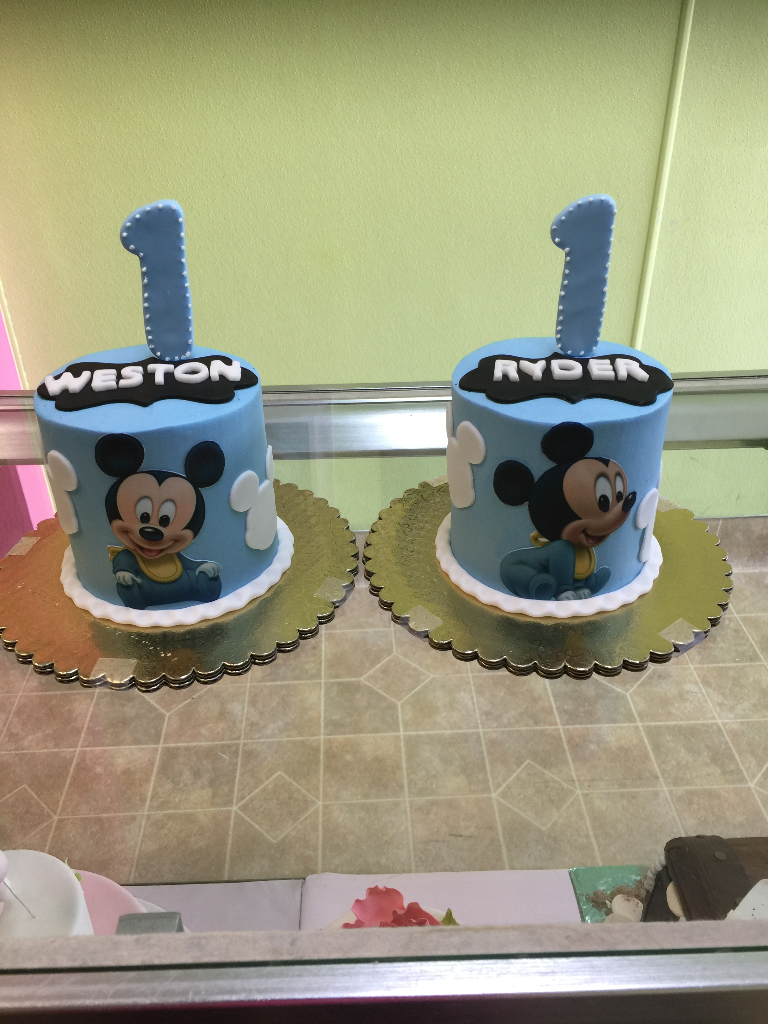 2971, first birthday, 1st birthday, disney, mickey mouse, baby mickey, blue, edible image, twins