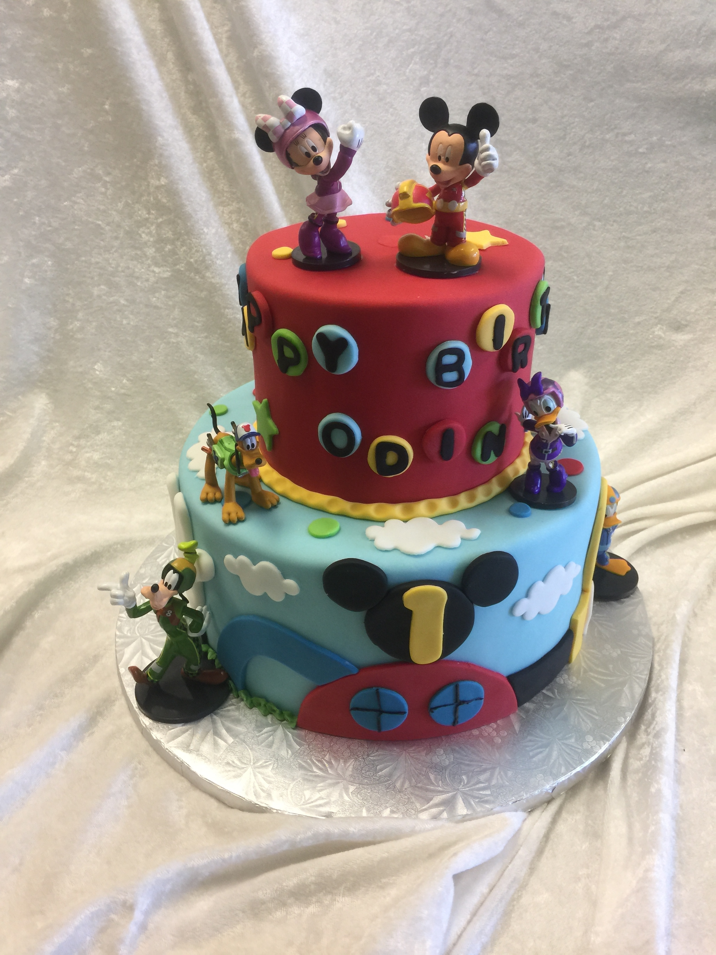 3568, first birthday, 1st birthday, mickey mouse, mickey's playhouse, minnie mouse, minnie, donald duck, goofy, daisy duck, blue, red, black, ears, disney, tiered