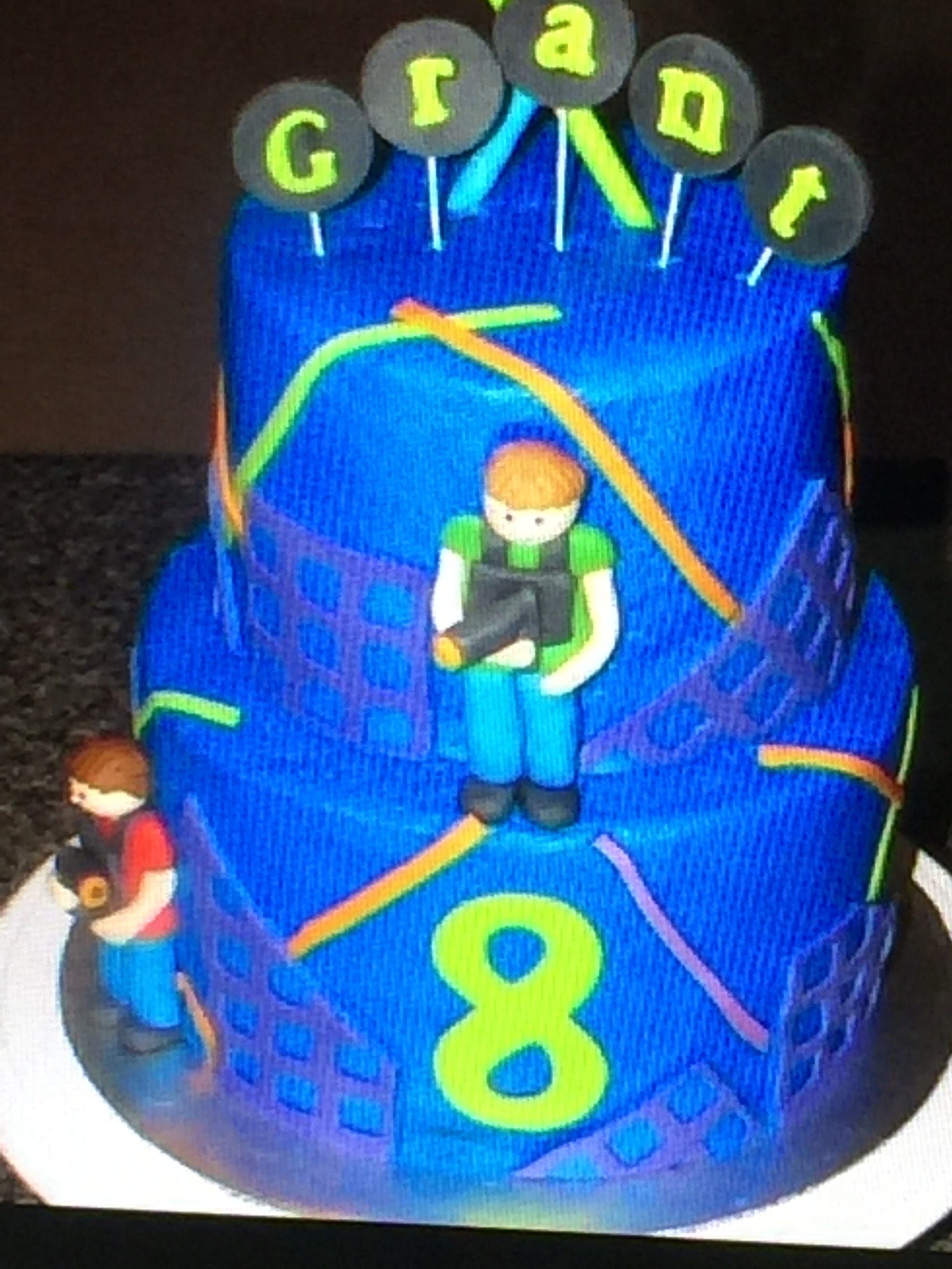 3579, eighth birthday, 8th birthday, laser tag, blue, neon, figure, figures, tiered