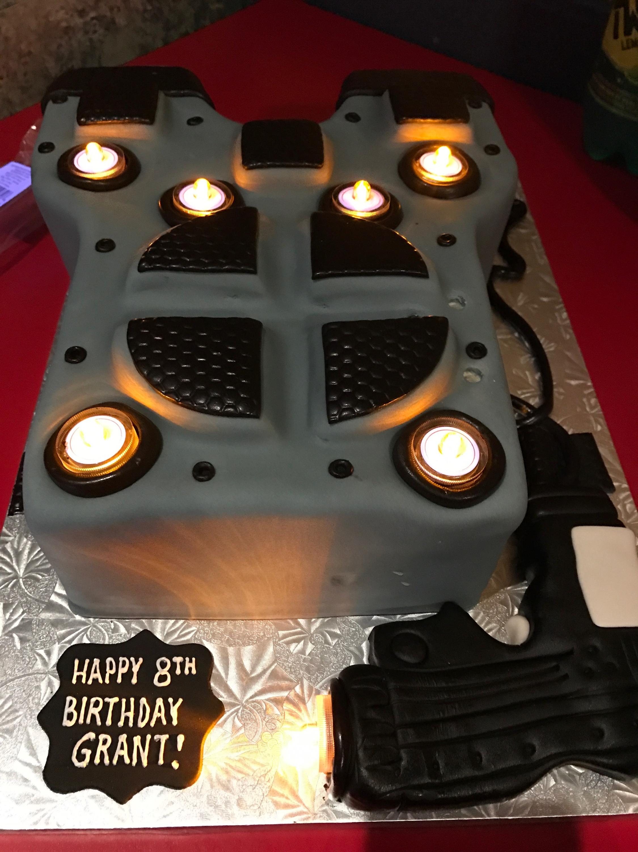 2974, 8th birthday, eighth birthday, laser tag, uniform, gun, gray, black, shirt, carved