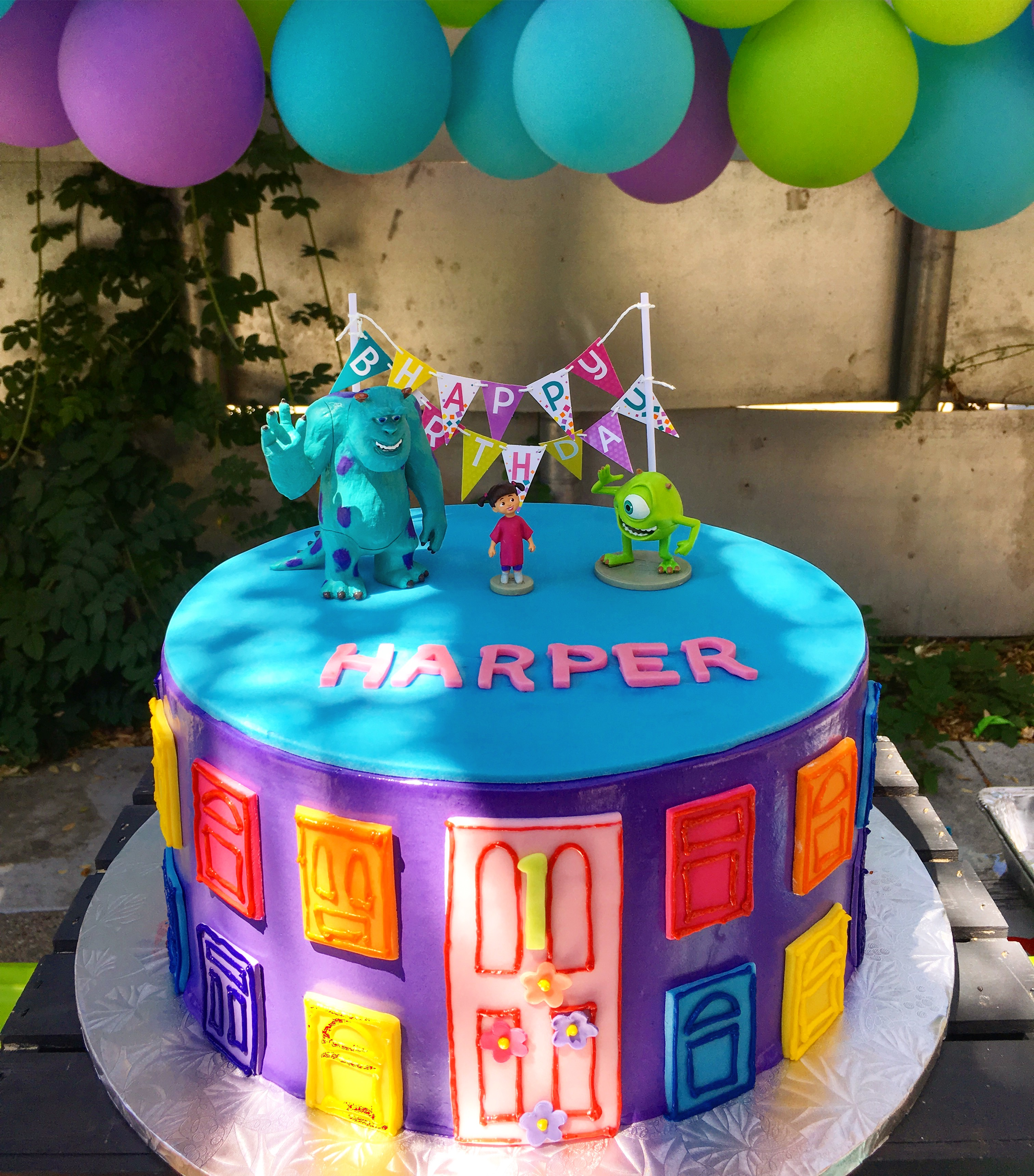 2978, first birthday, 1st birthday, monsters inc, pixar, mike, sully, blue, door, doors, purple