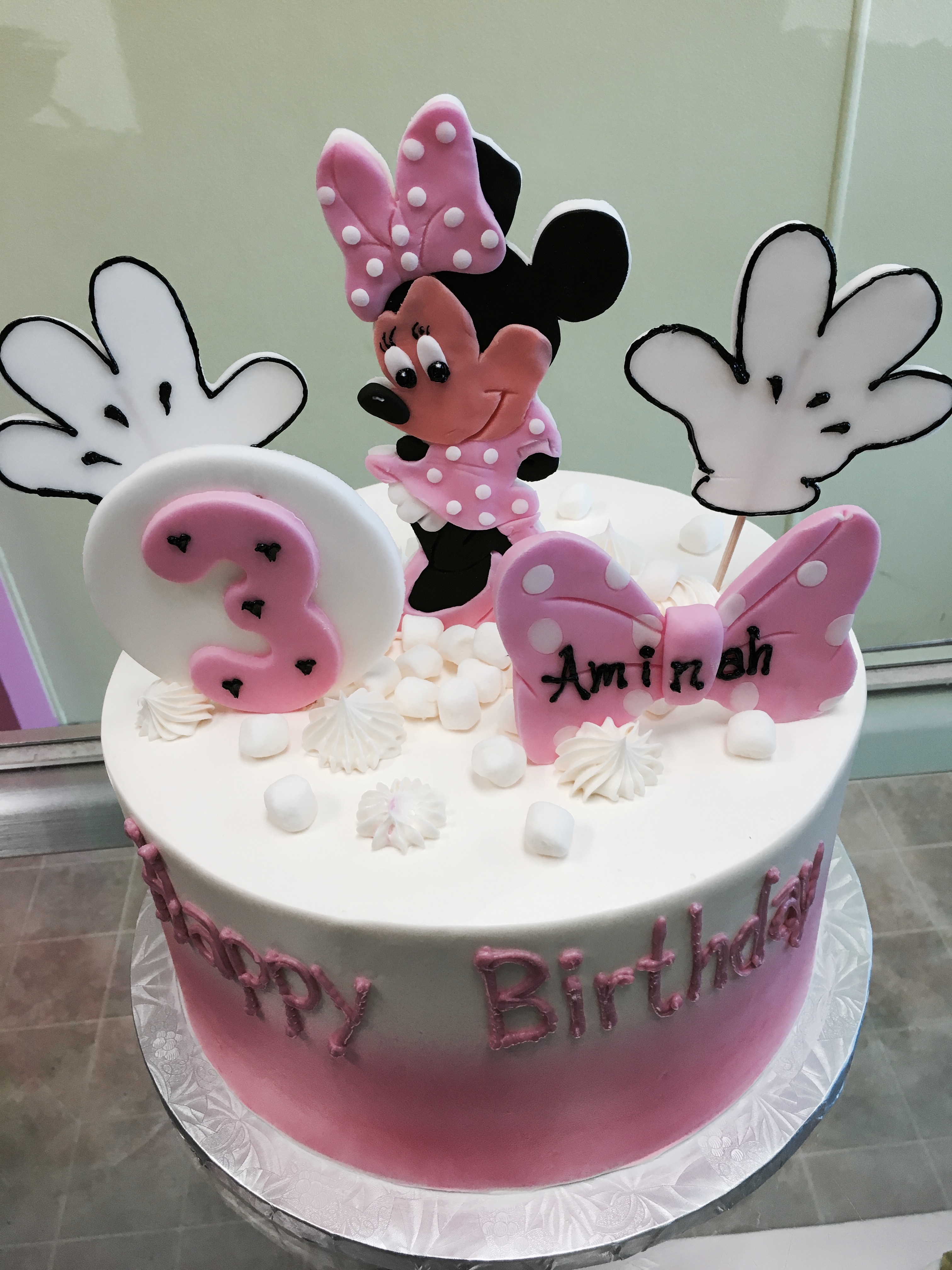 2983, 3rd birthday, third birthday, minnie mouse, disney, ears, hands, bow, pink, white,