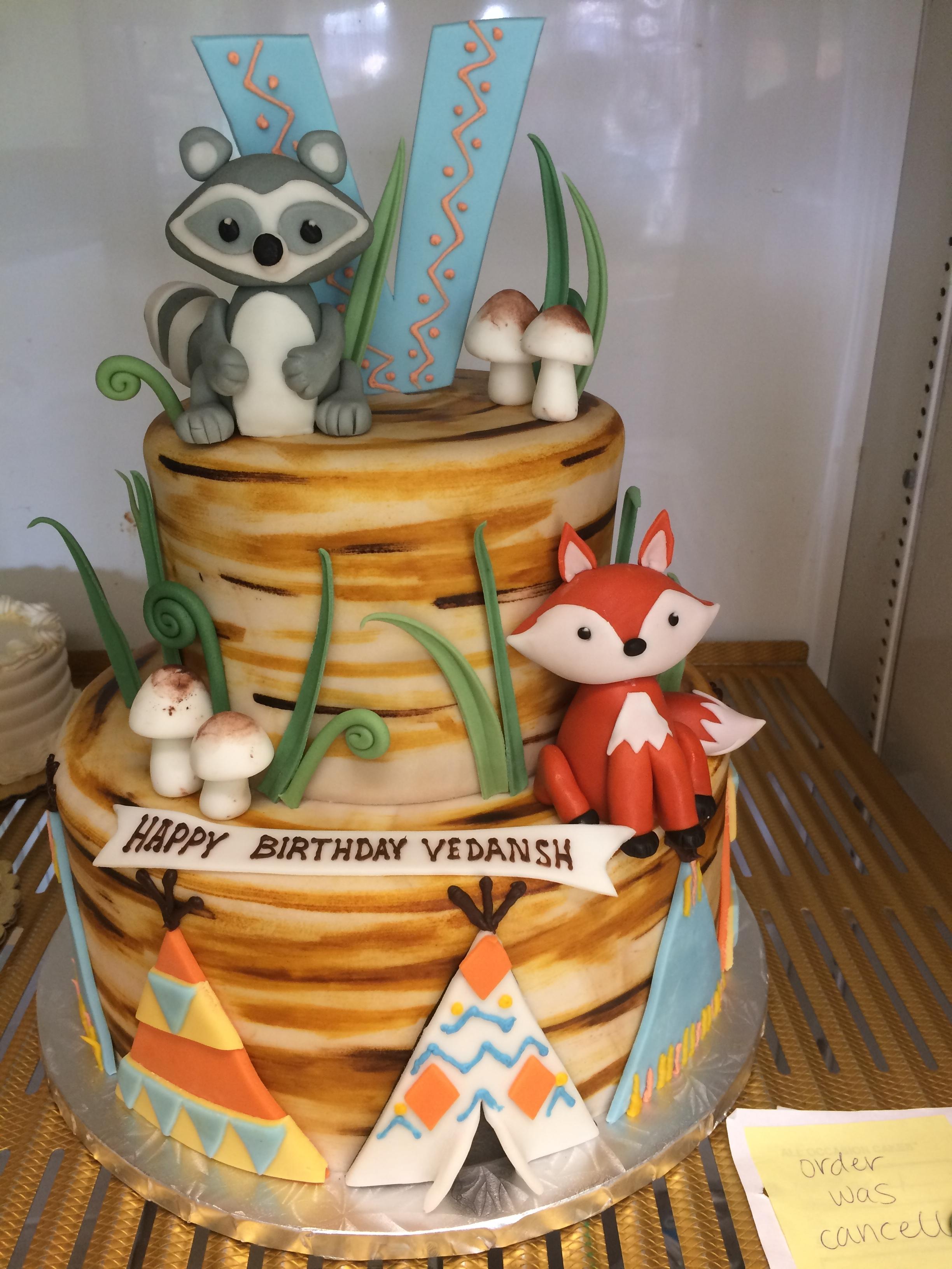 2986, birthday, woodland creatures, fox, raccoon, mushroom, mushrooms, animal, animals, grass, brown, green, figure, figures, tiered