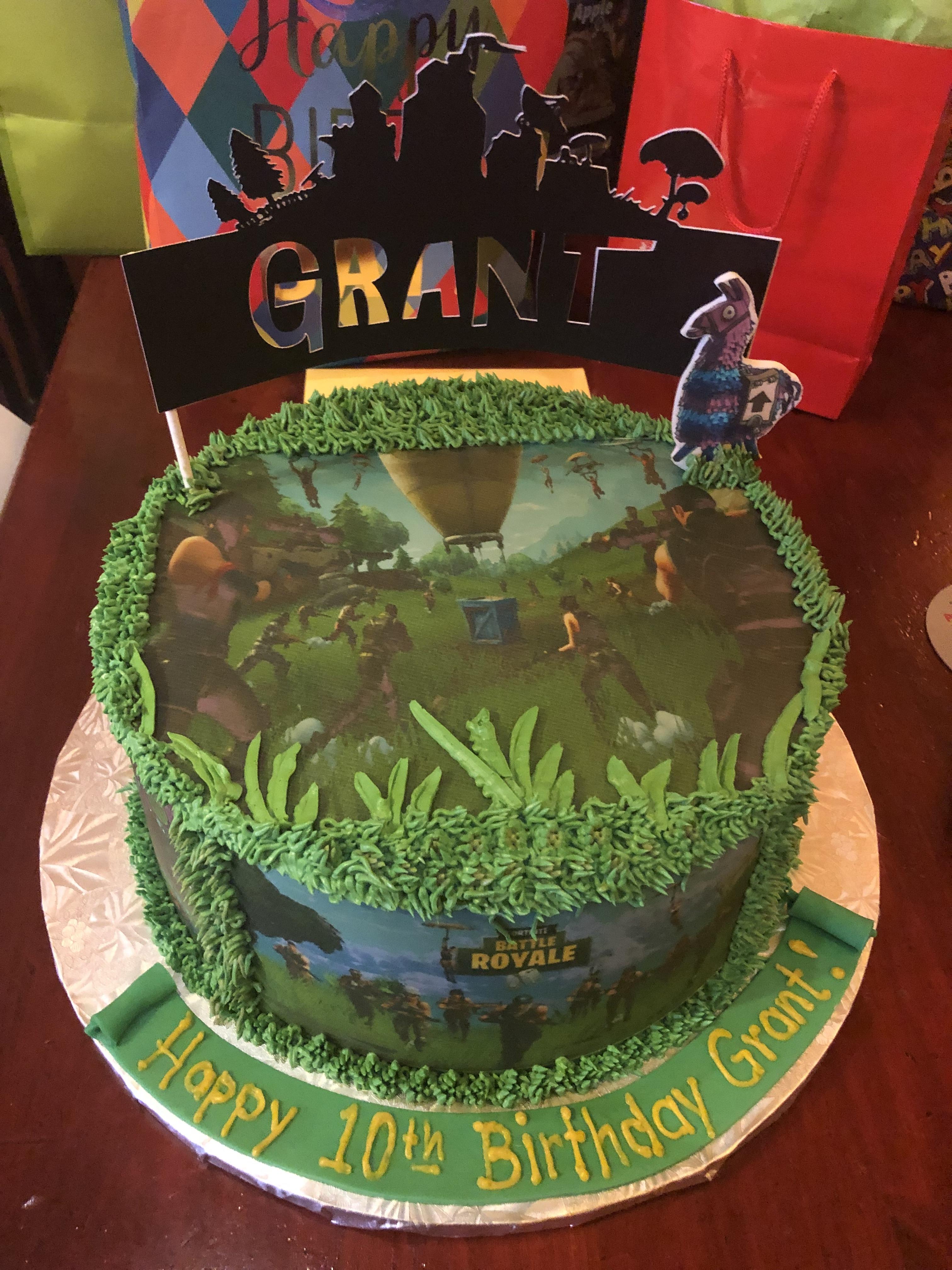 3146, 10th birthday, tenth birthday, fortnite, battle royale, edible image, topper, green, grass