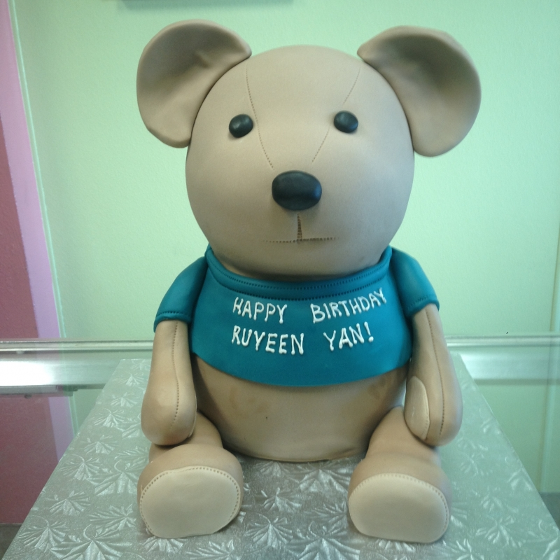 2013, birthday, bear, teddy bear, blue, brown, carved