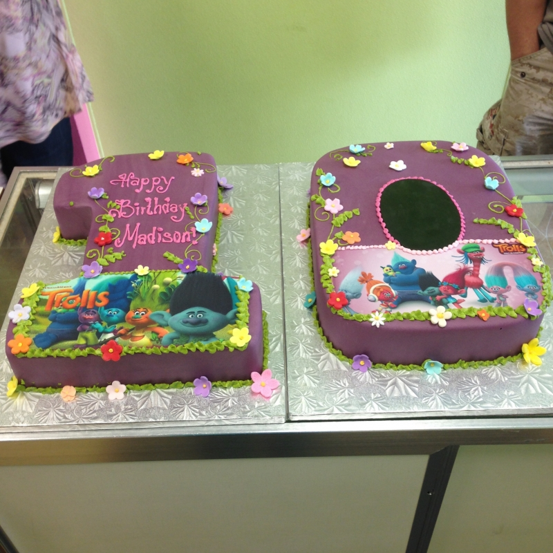 2028, 10th birthday, tenth birthday, trolls, flower, flowers, purple, yellow, carved