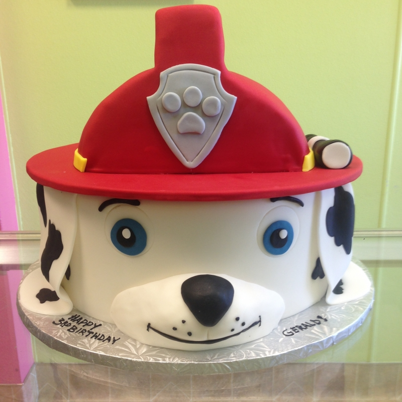 2034, 3rd birthday, third birthday, dalmation, fire, fire truck, fire dog, helmet, carved, red, black, white, paw patrol