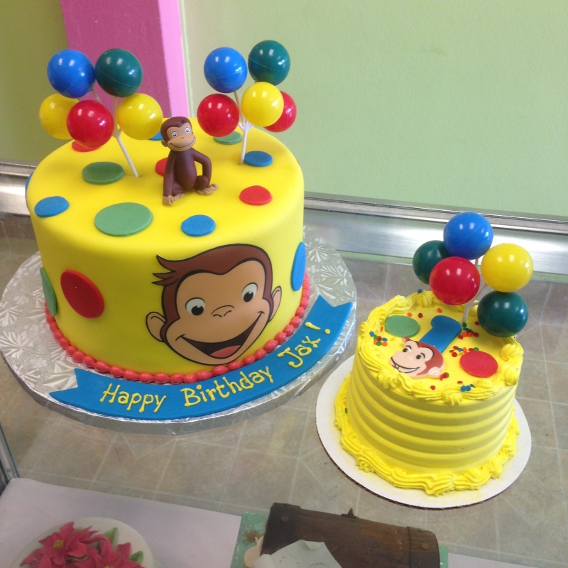 2044, first birthday, 1st birthday, curious george, monkey, balloon, balloons, yellow, red, blue, green, smash cake