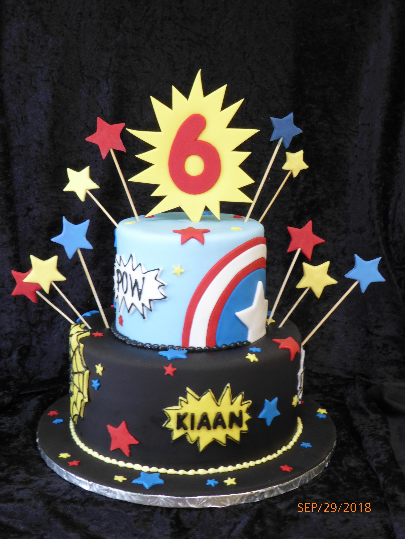 3267, 6th birthday, sixth birthday, star, stars, comic, comics, captain america, spider man, marvel, superheros, superhero, blue, red, black, yellow, tiered