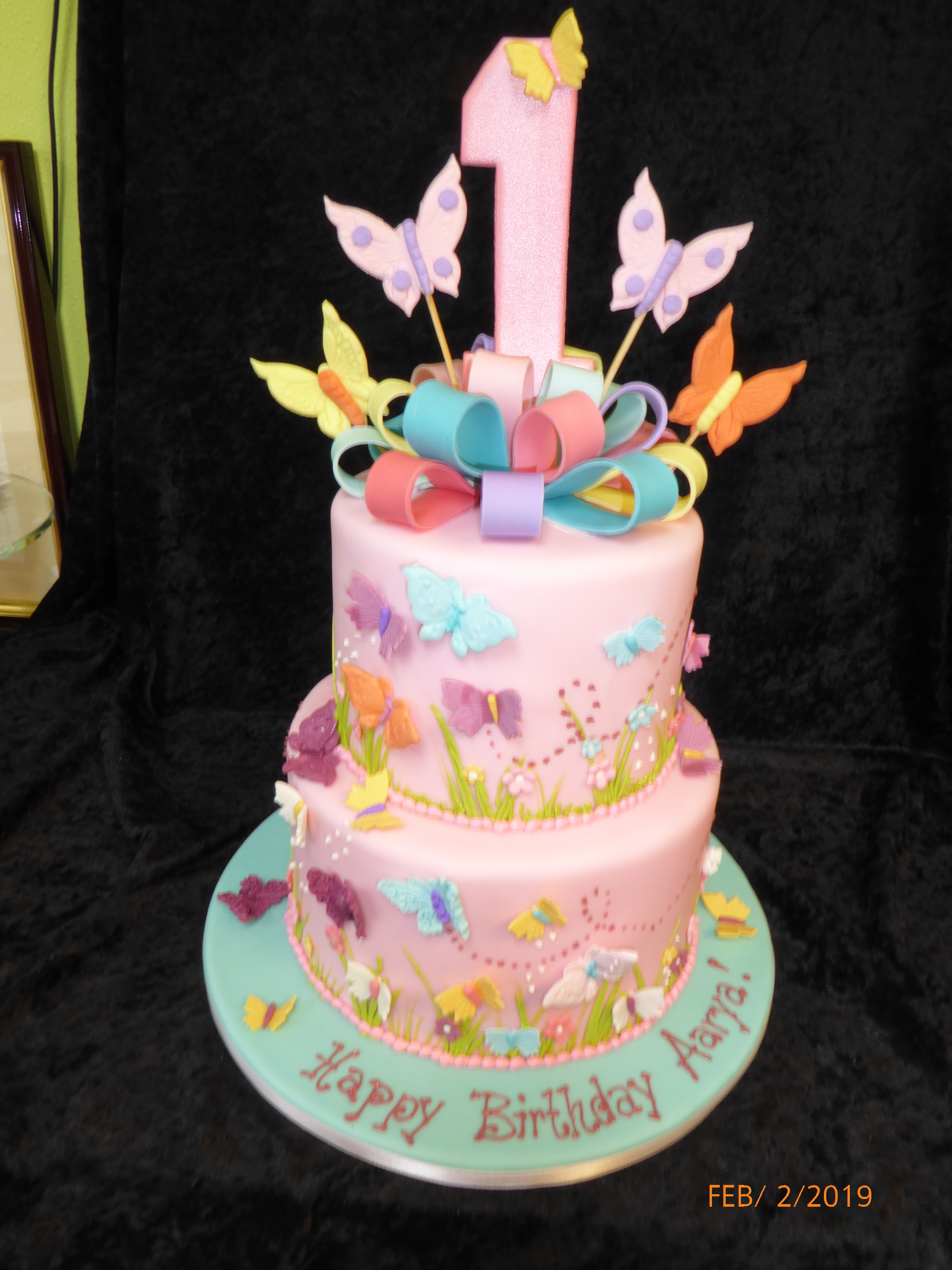 3155, first birthday, 1st birthday, butterfly, butterflies, flower, flowers, bow, bows, ribbon, pink, yellow, orange, blue, tiered