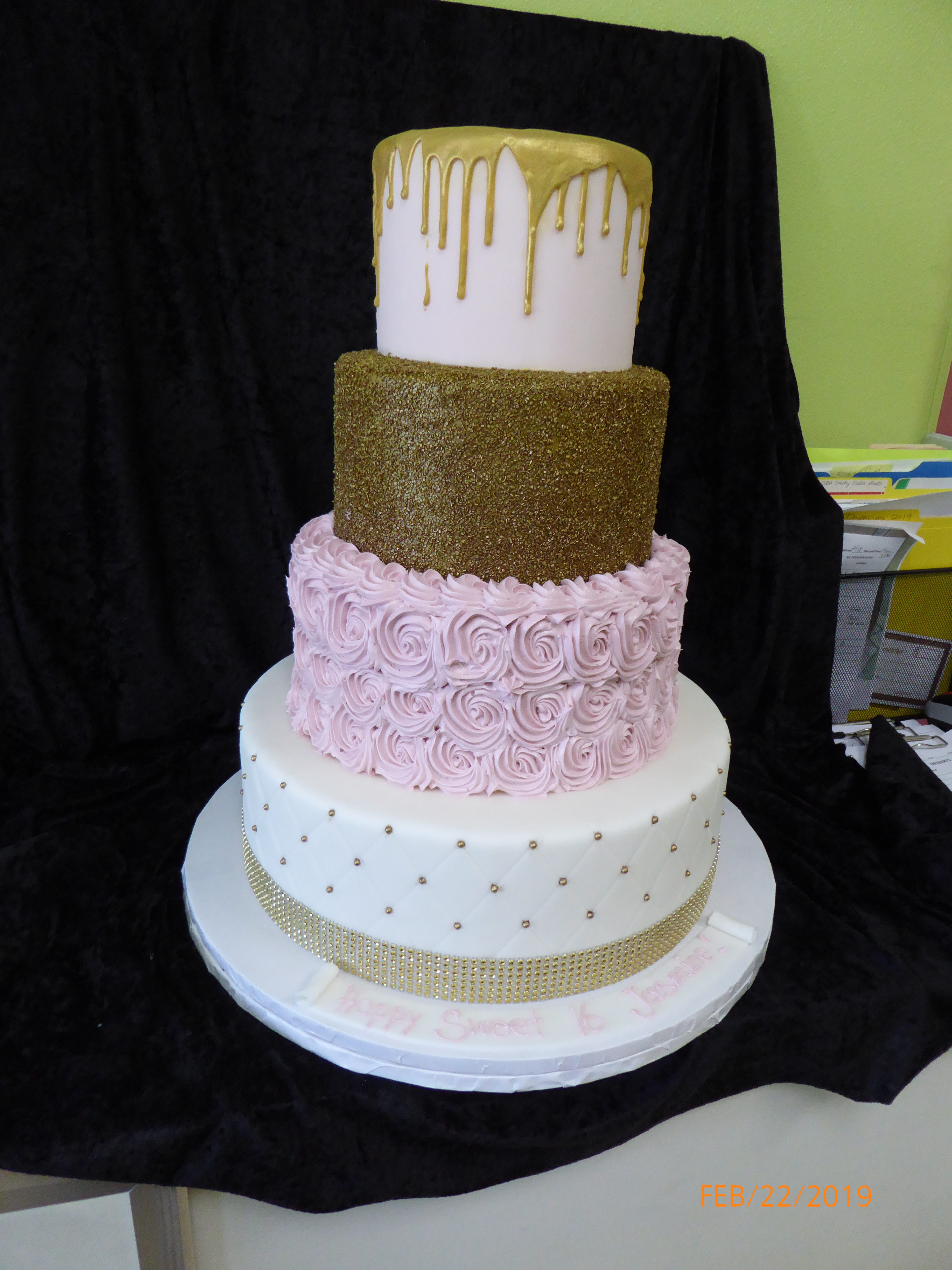 3161, birthday, dots, dot, quilted, rosette, sprinkle, sprinkles, gold, pink, white, drizzle, tiered