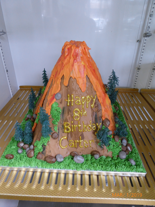 3173, 8th birthday, eighth birthday, volcano, forest, tree, trees, rock, rocks, lava, eruption, carved